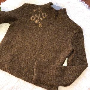 My Feno Mock Neck Brown Gold Long Sleeve Sweater